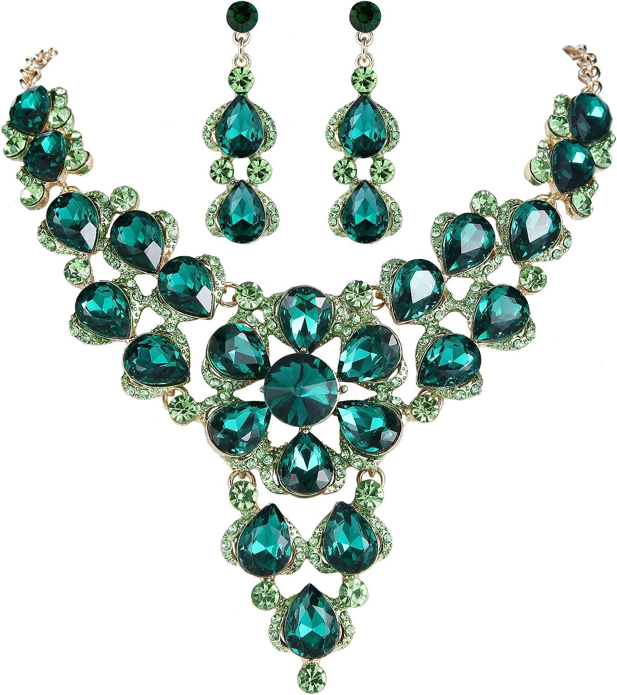 Clearine Mujer Boda Novia Cristal Esmalte Multi Lágrima Racimo Brillante Collar Colgante Pendiente Aretes Juego