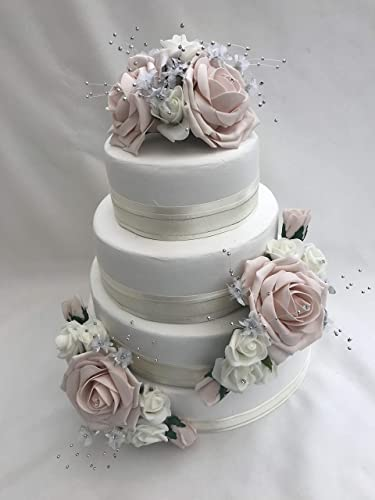 Artificial Wedding Rose Flower Cake Toppers