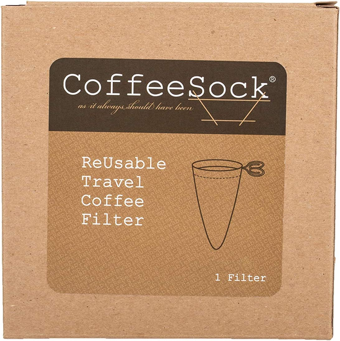 CoffeeSock Travel Style - The Original Reusable Coffee Filter- GOTS Certified Organic Cotton Reusable Coffee Filters