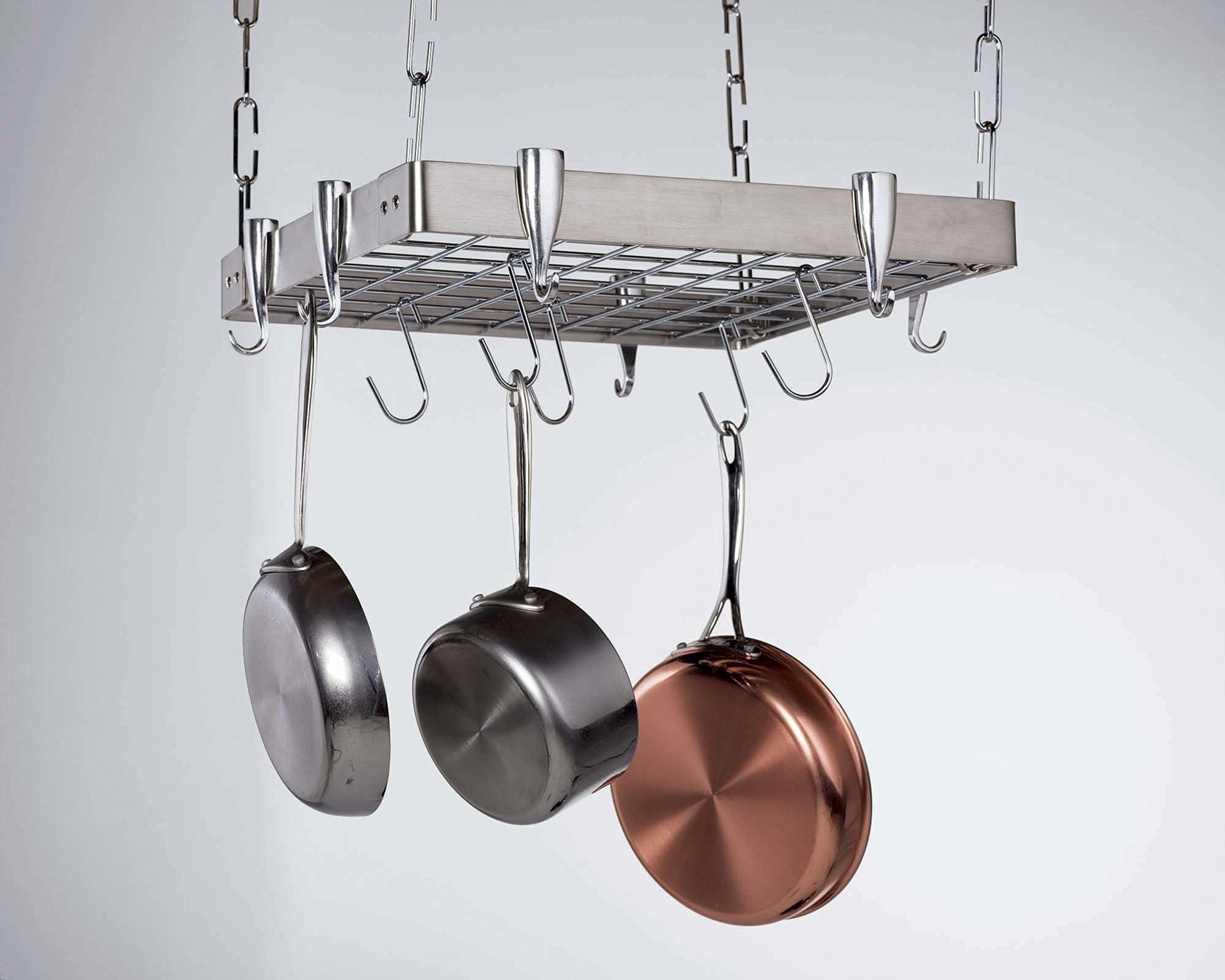 Stainless Steel Hanging Square Shelves Kitchen Ceiling Pot Rack