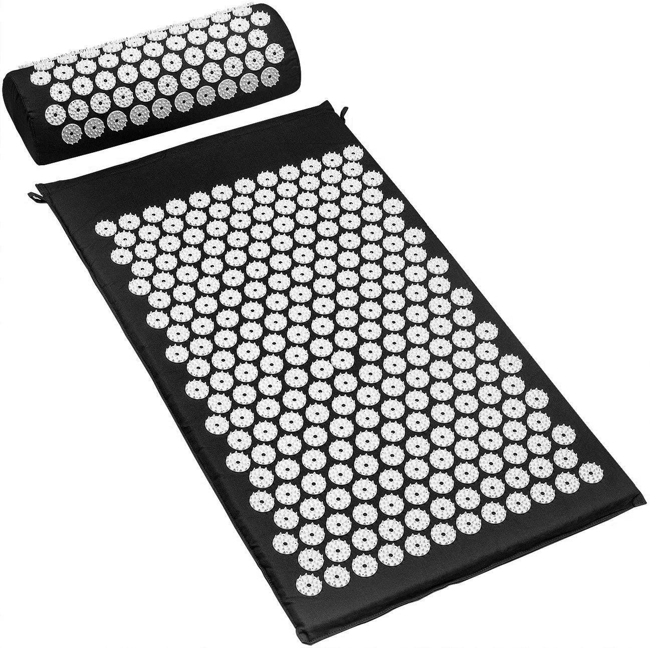 Sivan Back and Neck Pain Relief Acupressure Mat and Pillow Set, Chronic Back Pain Treatment - Relieves Your Stress of Lower Upper Back and Sciatic Pain - Black: Sports & Outdoors