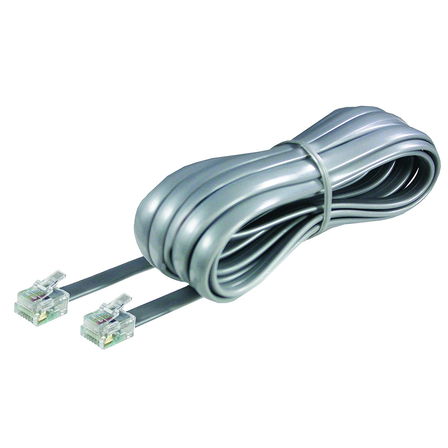 Amazon.com: Softalk Phone Line Cord 15-Feet Silver Landline ...