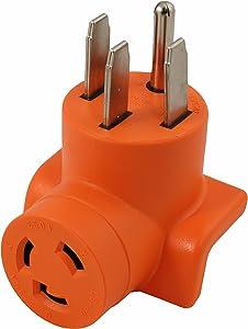 AC WORKS [AD1450L630] Locking Adapter Generator/RV/Range 14-50P Plug to L6-30R 3Prong 30Amp 250Volt Locking Female Adapter