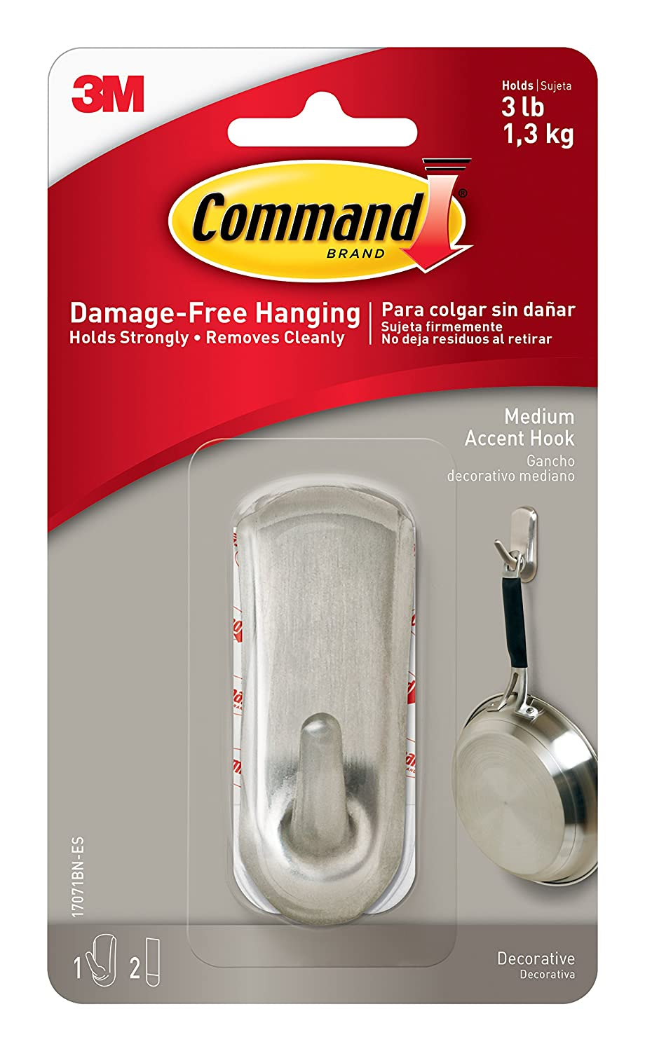 Command Accent Hook Medium Brushed Nickel 1 Hook 17071BN ES