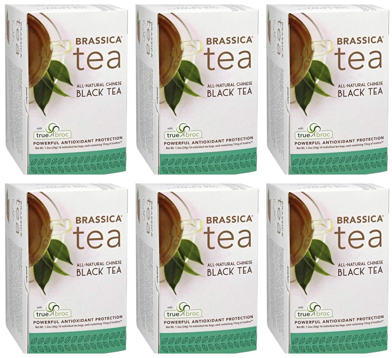 Brassica Tea Black Tea with truebroc, Case of 6 Boxes (16 Tea Bags Per Box)