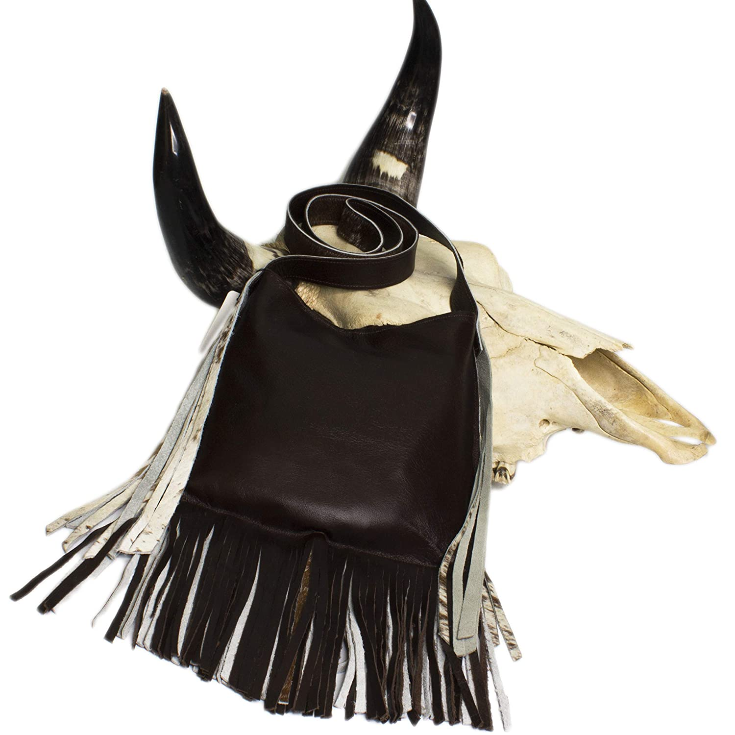 Raviani Cross Body Fringe Bag Brown /& White Hair on Leather W//Cross Studs