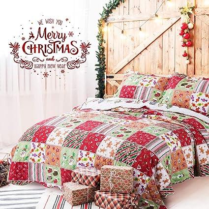 Amazoncom Bedsure Christmas Bedding Quilts Set Decoration Printed