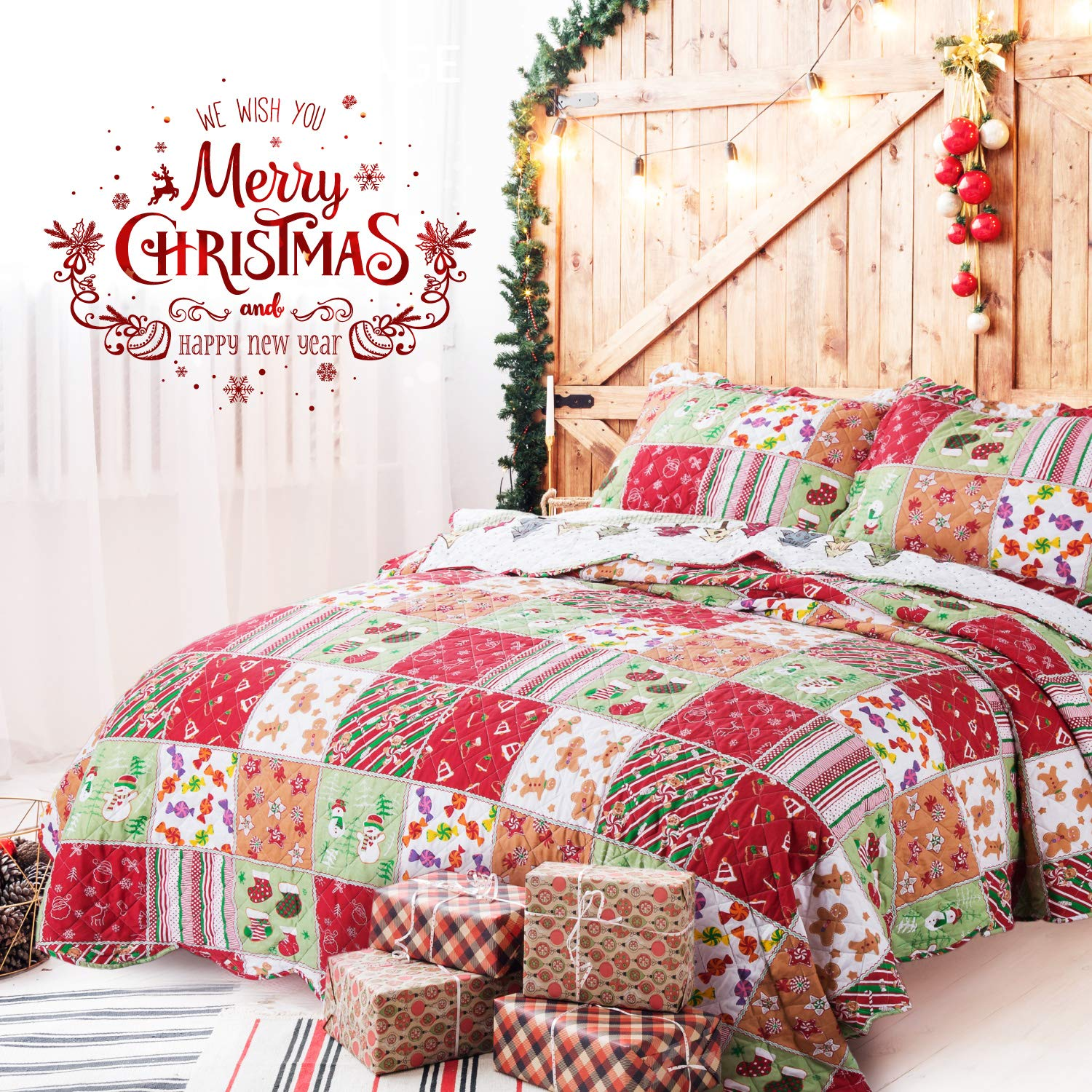 Bedsure Christmas Bedding Quilts Set Decoration Printed Bedspread ...