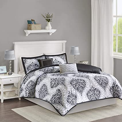 Review Intelligent Design Senna Comforter Set Full/Queen Size - Black/Gray, Damask – 5 Piece Bed Sets – All Season Ultra Soft Microfiber Teen Bedding - Great For Guest Room and Girls Bedroom