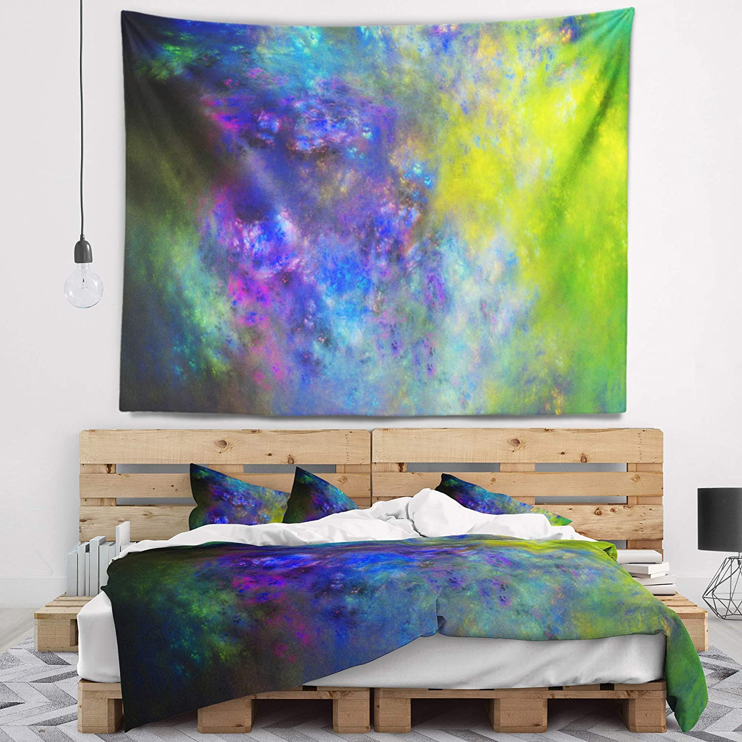 Created On Lightweight Polyester Fabric 60 in Designart TAP16214-60-50  Blue Green Starry Fractal Sky Abstract Blanket D/écor Art for Home and Office Wall Tapestry Large x 50 in