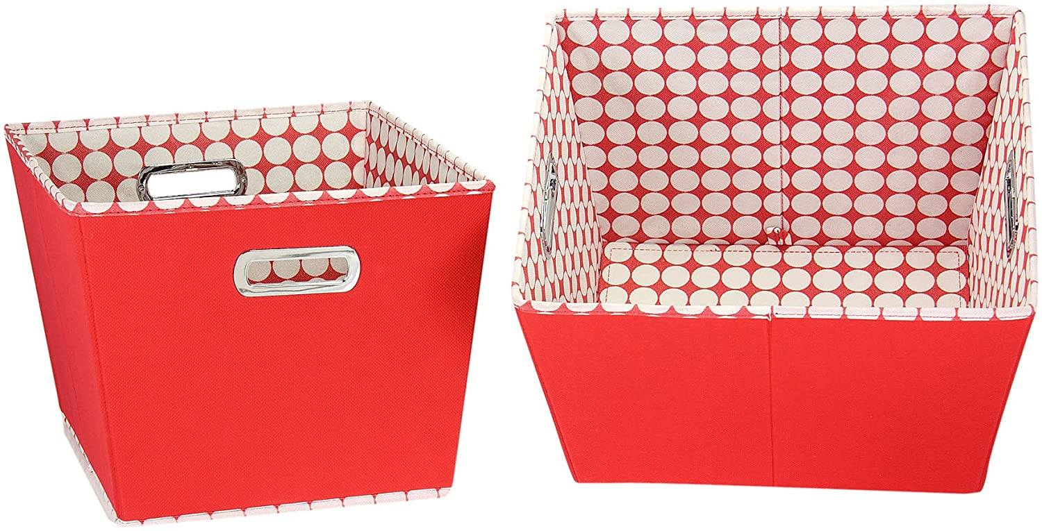 Household Essentials Medium Tapered Bins, Red with White Dots, Set of 2 Hosuehold Essentials 19KDRED-1