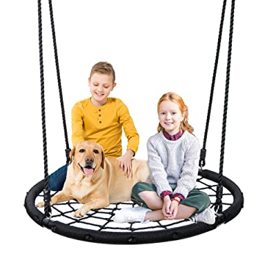 "Super Deal XXL 48"" Web Tree Swing Set - Largest Platform - 360°Rotate° - 71'' Adjustable Detachable Nylon Rope - Attaches to Trees or Swing Sets - for Multiple Kids or Adult (48''): Toys & Games"