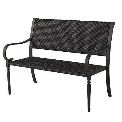 Grand Patio Deluxe Wicker Outdoor Bench, Weatherproof Garden Bench, Rust  Resistant Park Bench With
