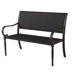 Grand patio Deluxe Wicker Outdoor Bench, Weatherproof Garden Bench, Rust Resistant Park Bench with Powder Coated Black Steel Frame