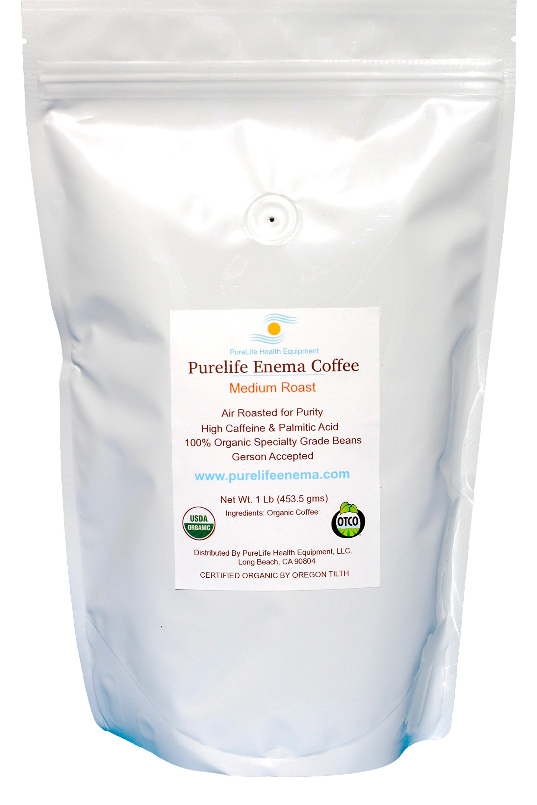 PureLife Enema Coffee- 1 Pound, Organic Medium Air Roast - Gerson Accepted - Without Mold or Fungus - Ships Direct From Manufacturer
