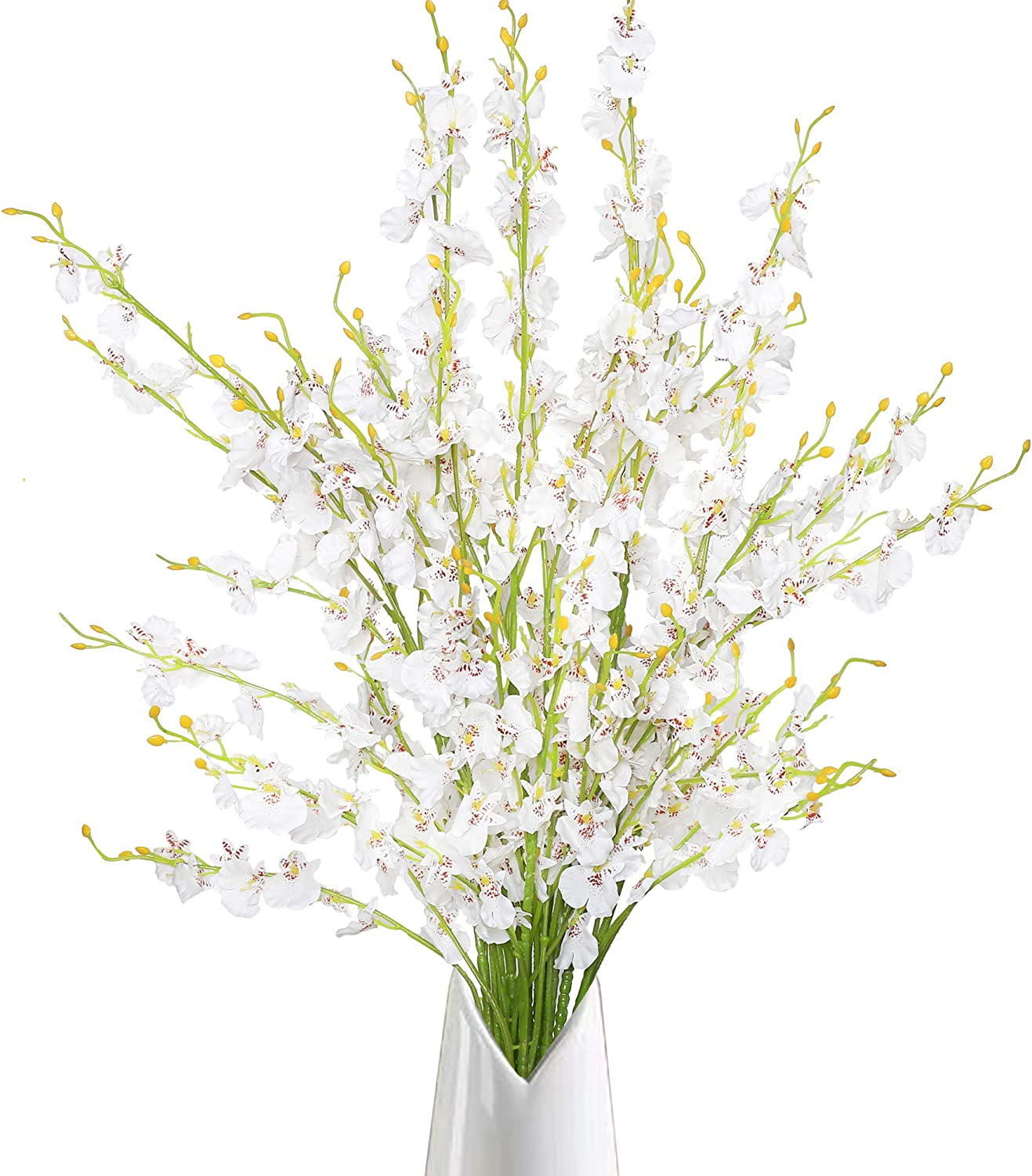 Trimgrace 10pcs Faux Orchid Silk Flowers Artificial Dancing Lady Orchids Long Stems Flower for Wedding Home Party Office Patio Yard Decor Restaurant Patio Furnishing Flower Arrangement (White)