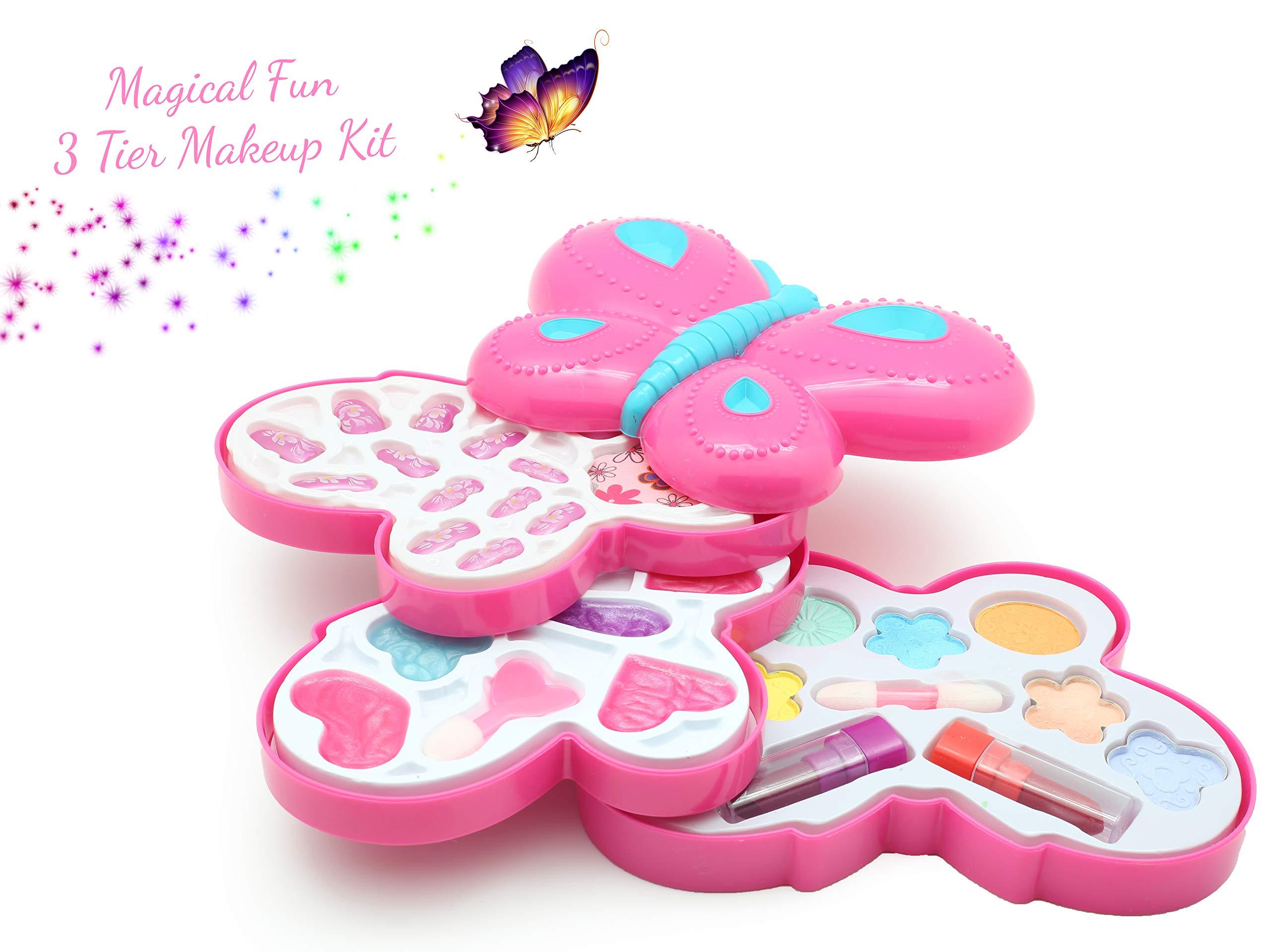 KreativeKraft Kids Make Up Set Children Makeup for Girls Fancy Dress Accessory Beauty Case Butterfly