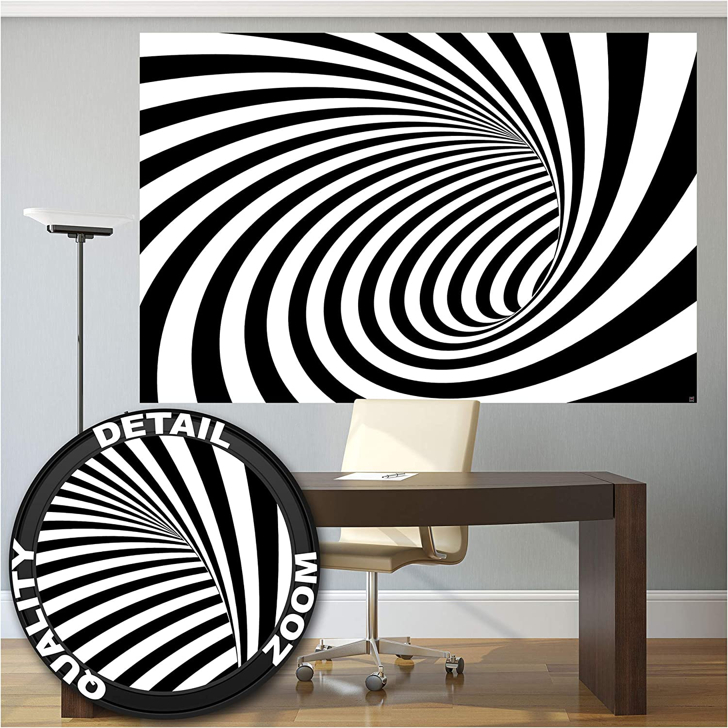 Amazon Com Great Art Photo Wallpaper 3d Black White Tunnel Picture Decoration Doppler Effect Modern Design Abstract Spiral Stripes Tunnel Graphic Image Decor Wall Mural 82 7x55 1in 210x140cm Posters