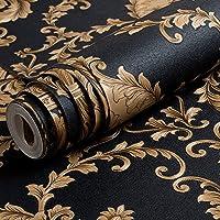 Behang Hoogwaardig Zwart Goud Luxe Reli毛f Textuur Metallic 3D Damast Behang Voor Muur Roll Wasbaar Vinyl