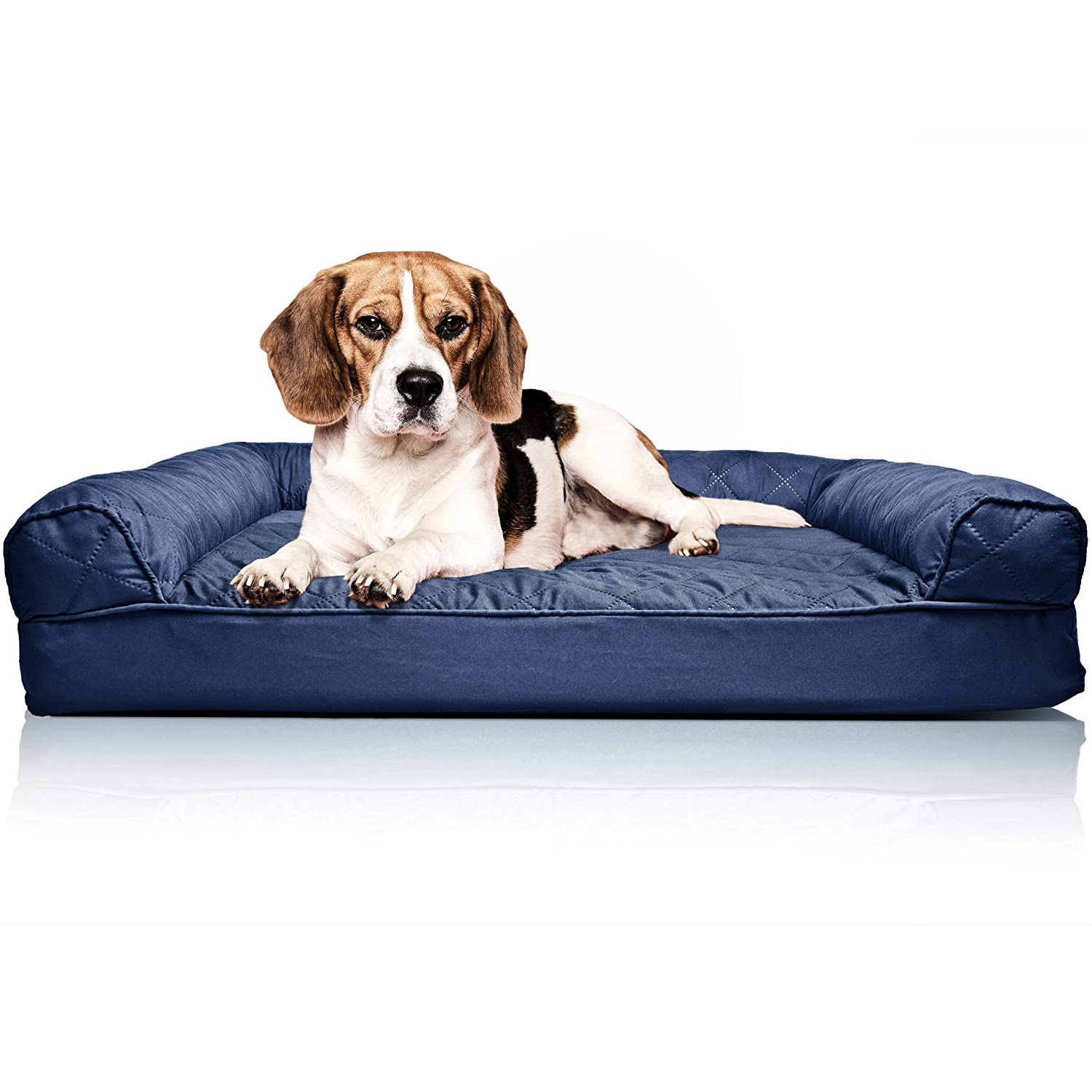 Navy Medium Navy Medium FurHaven Pet Dog Bed   Orthopedic Quilted Sofa-Style Couch Pet Bed for Dogs & Cats, Navy, Medium