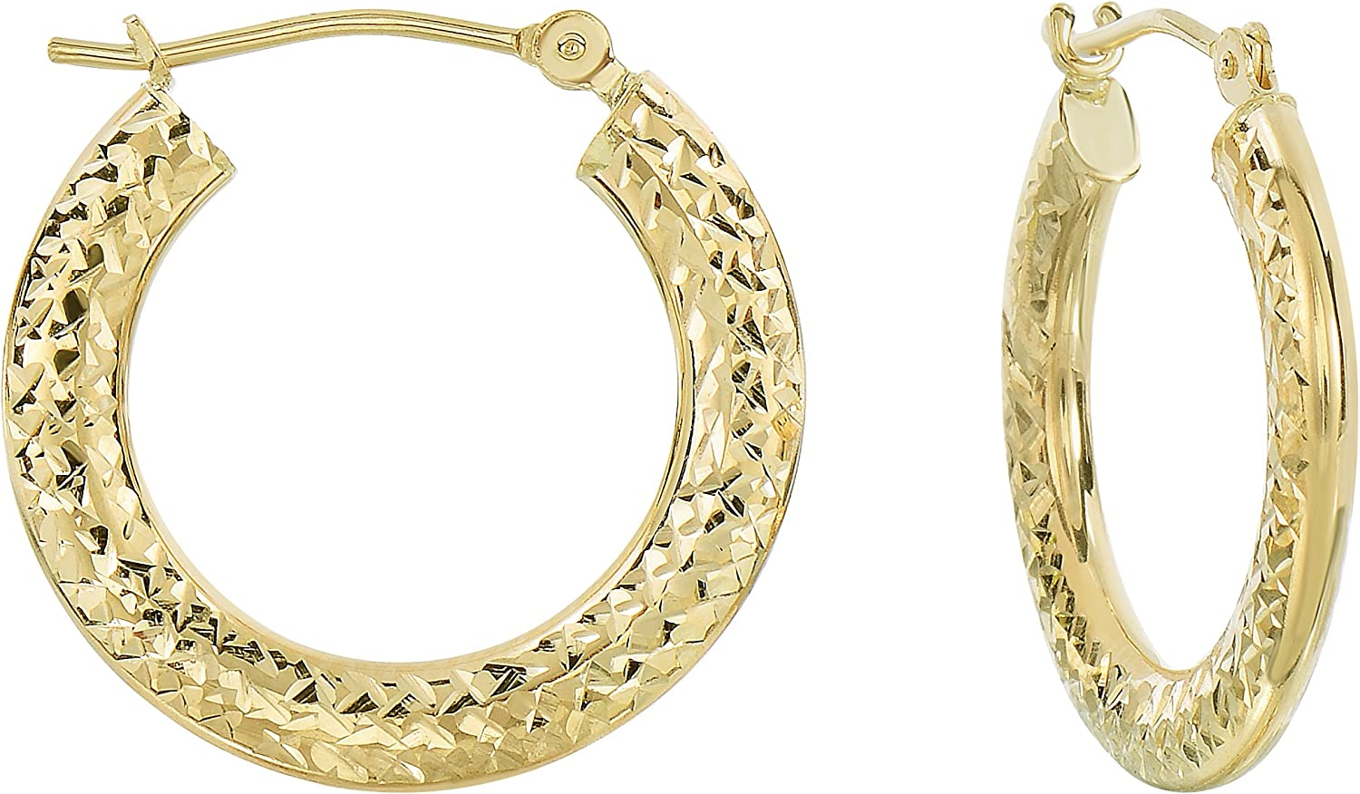14kt Yellow Gold Textured 31mm-18mm Oval Hoop Earring with White Gold Latch Closure Modern Design Free Shipping Valentine/'s gift