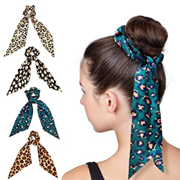 Women/'s Bow Hair Tie Ring Rope Scrunchies Leopard Ponytail Holders Accessories