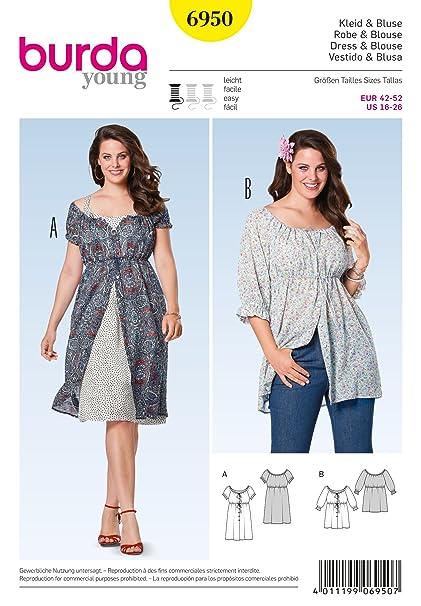 Amazon.com: Burda Ladies Plus Sizes Easy Sewing Pattern 6950 Carmen ...