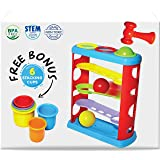 Pound a Ball Toy For Toddlers + FREE 6 Stacking Cups, Hammer and Ball Toys for 1 Year Old Boy & Girl STEM Developmental…