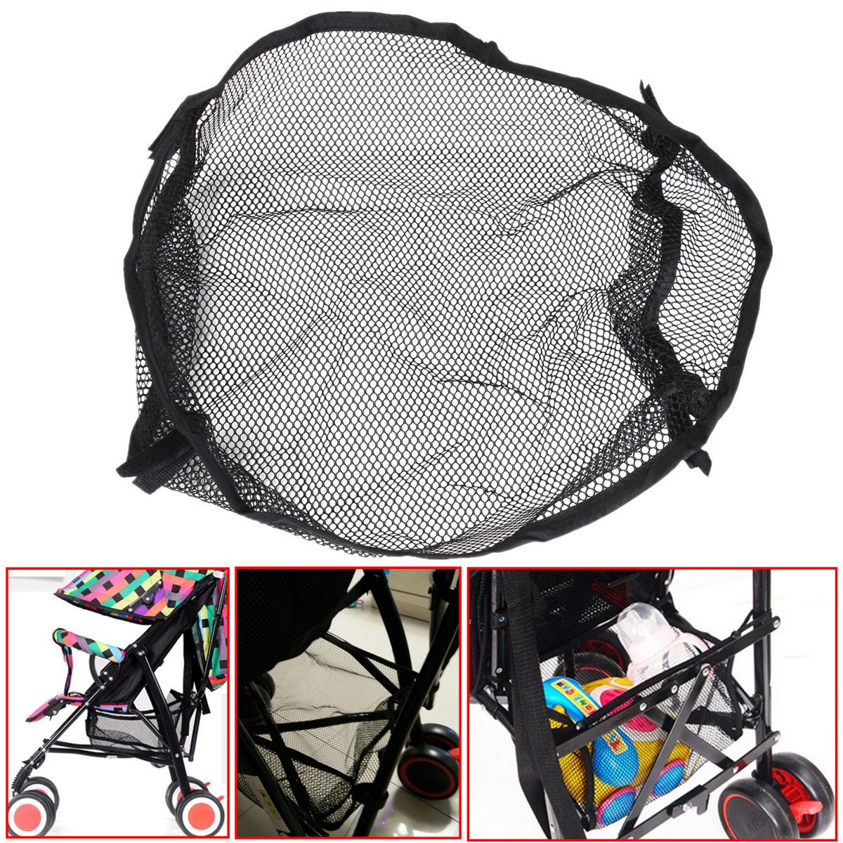 Bazaar Universal Black Under Storage Net Bag Buggy Stroller Pram Basket Shopping Baby Item Pushchair Pocket Big Bazaar