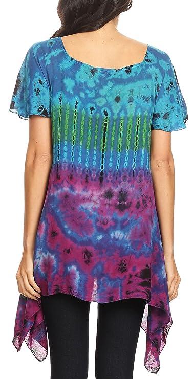 Sakkas Daniela Manga Corta para Mujer Suelta Corbata Tinte Blusa Top túnica asimétrica: Amazon.es: Ropa y accesorios