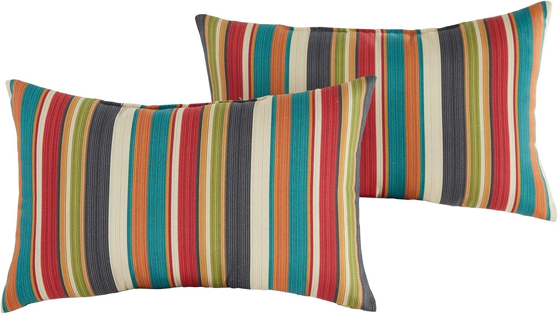 Greendale Home Fashions Set of 2 Outdoor 19x12-inch Rectangle Throw Pillows, Adobe Stripe : Garden & Outdoor