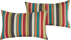 South Pine Porch Outdoor Sunset Stripe 19x12-inch Rectangle Accent Pillow, Set of 2