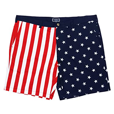 Club Room Americana Collection USA Flag Flat Front Shorts (Navy Blue Combo, 42) at Men's Clothing store