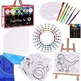Paint Set For Kids,47 Piece Kids Art Set Paint Easel Includes 24 Non Toxic Paints,Table Top Easel,Art Smock,6 Paint…