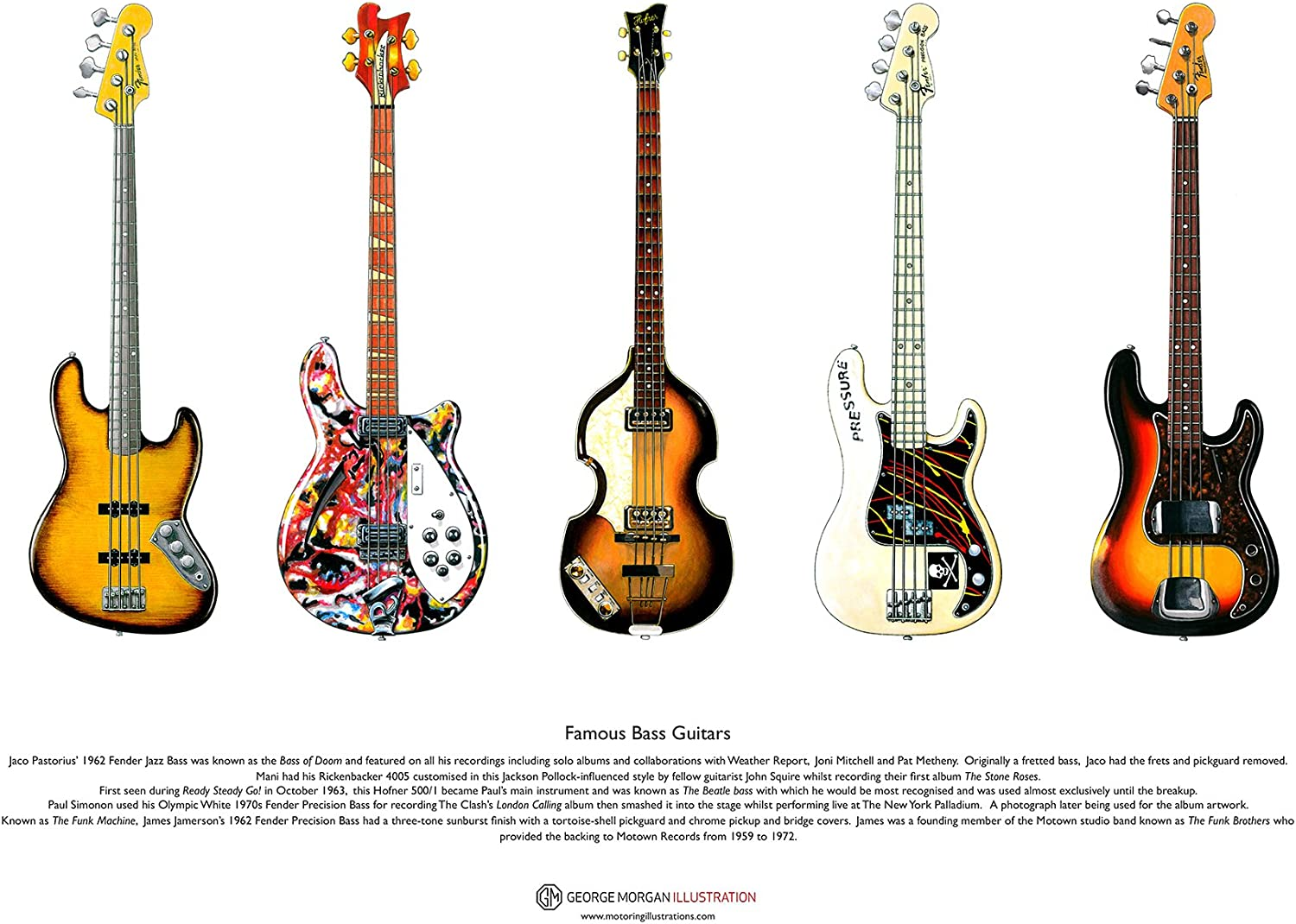 George Morgan Illustration Famosa Guitarras Bajas del Cartel del ...