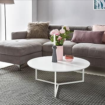 Finebuy Design Couchtisch White 80 Cm Rund Weiß Matt Lackiert