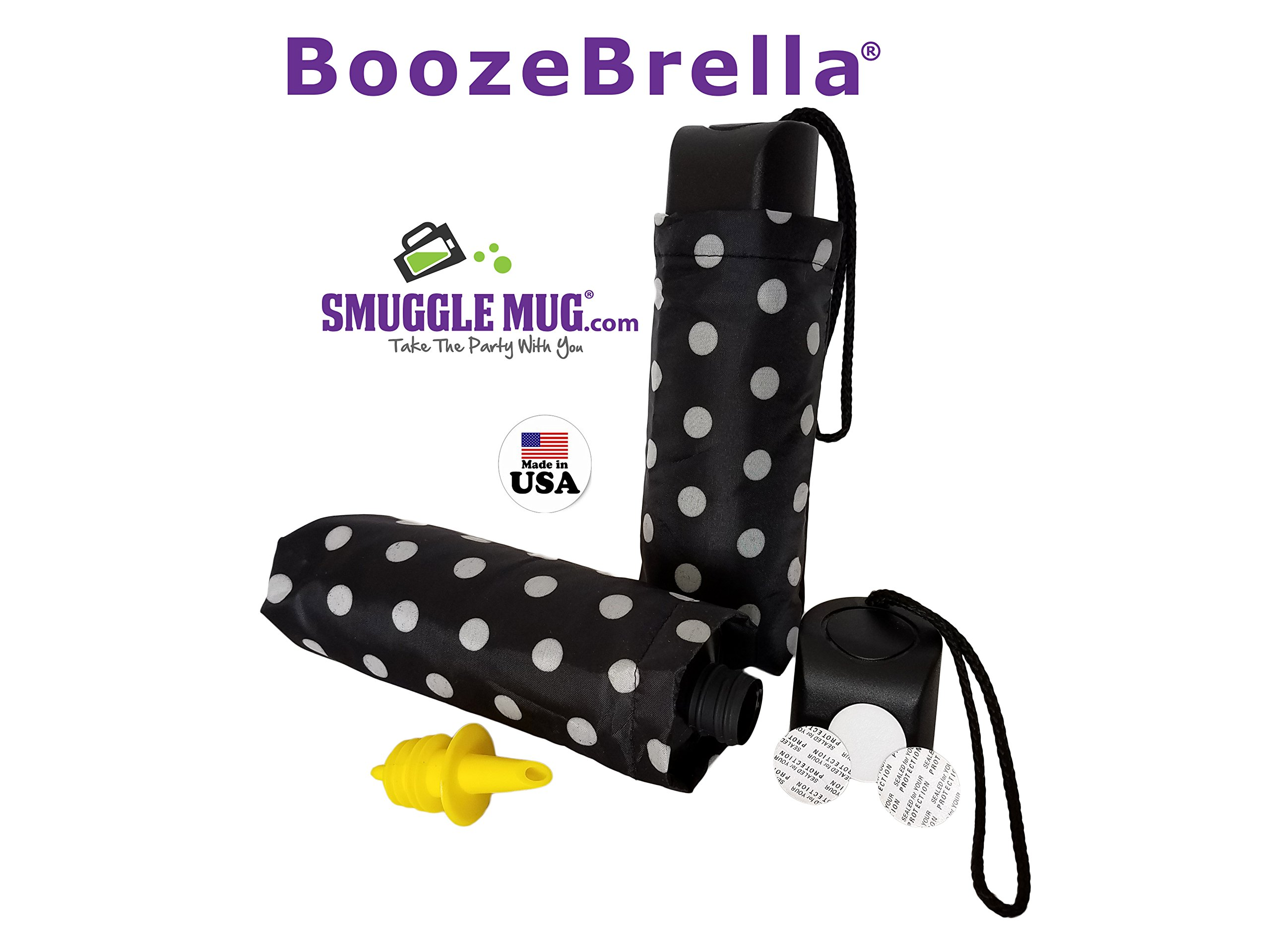 BoozeBrella by Smuggle Mug. Disguised 9 Ounce Umbrella Flask(Black w/ White Dot)