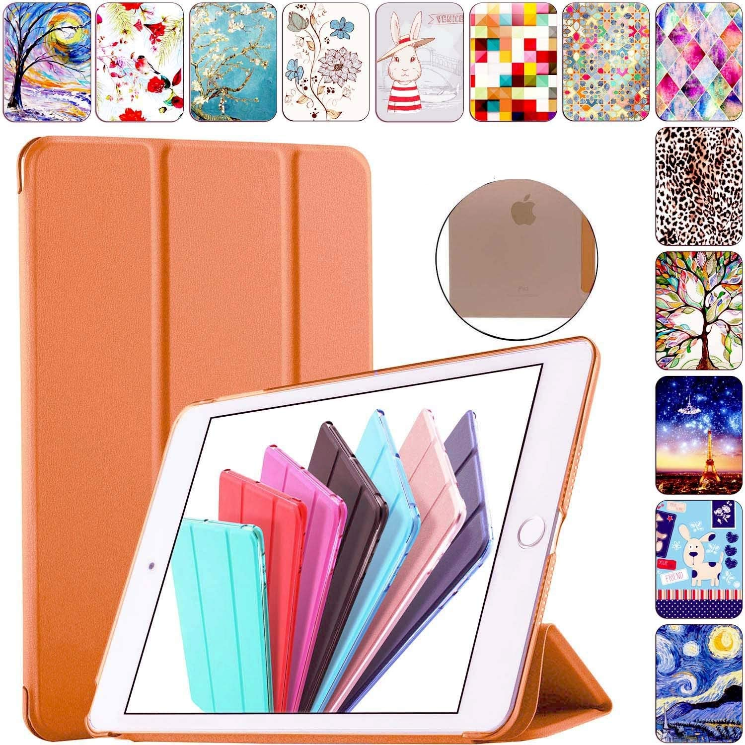 DuraSafe Cases for iPad Mini 3 2 1 Generation 7.9 Inch A1599 A1600 A1489 A1490 A1491 A1432 A1454 A1455 Trifold Hard Smart PC Translucent Back Cover - Orange