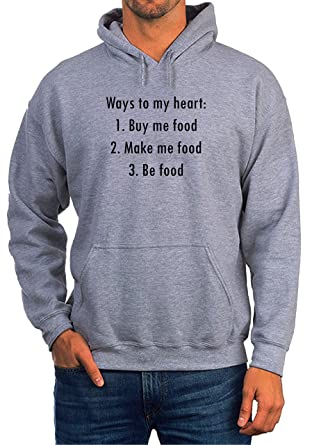 b148f4c53 BlackMeow Ways to My Heart Buy Me Food Be Food White Unisex Hoodie:  Amazon.co.uk: Clothing