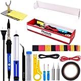 Soldering Iron Kit Electronics, Soldering Iron 60W Adjustable Temperature, Solder Wire, Wire Stripper, Desoldering Pump…