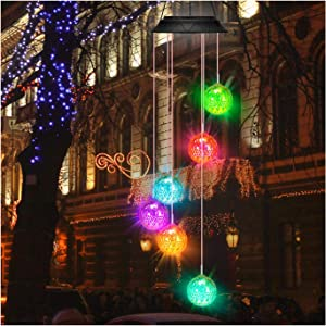 Wind Chimes,Color Changing Waterproof Solar Wind Chime for Outside,Hollow Sphere with LED Light,Gift for mom Birthday Gifts for Women Grandma Outdoor Indoor Decor Home Party Garden Yard Patio (Gold)