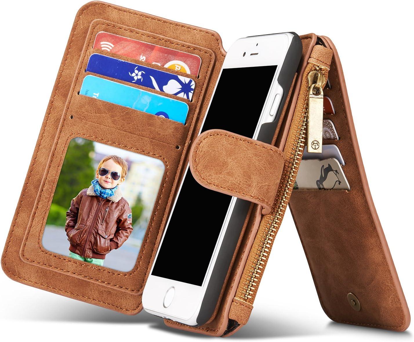 Coque pour iPhone 8 et iPhone 7, étui portefeuille rétro en cuir véritable pour iPhone 7 iPhone 8 W avec poches pour cartes et fermeture éclair ...
