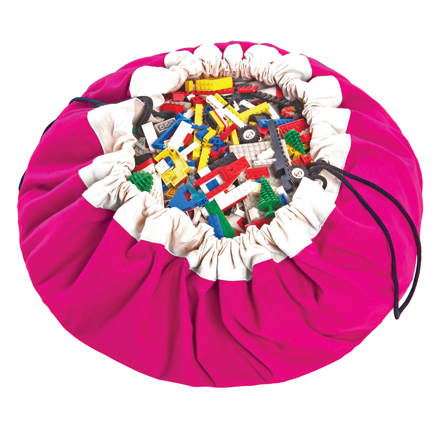 Play&Go Large Children Drawstring Play Mat and Toy Organizer Storage 55 Bag - Portable Container for Storing Kids Toys - Fuchsia