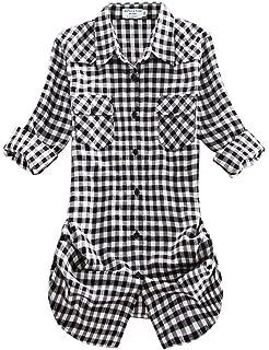 Ceanfly Femmes Bouton Coton Revers Encolure Chemise Plaids Shirt ... 39b811a0b8fa