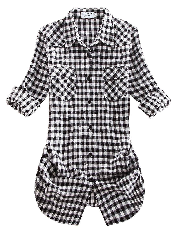 2021 Checks 12 Match Women's Long Sleeve Flannel Plaid Shirt