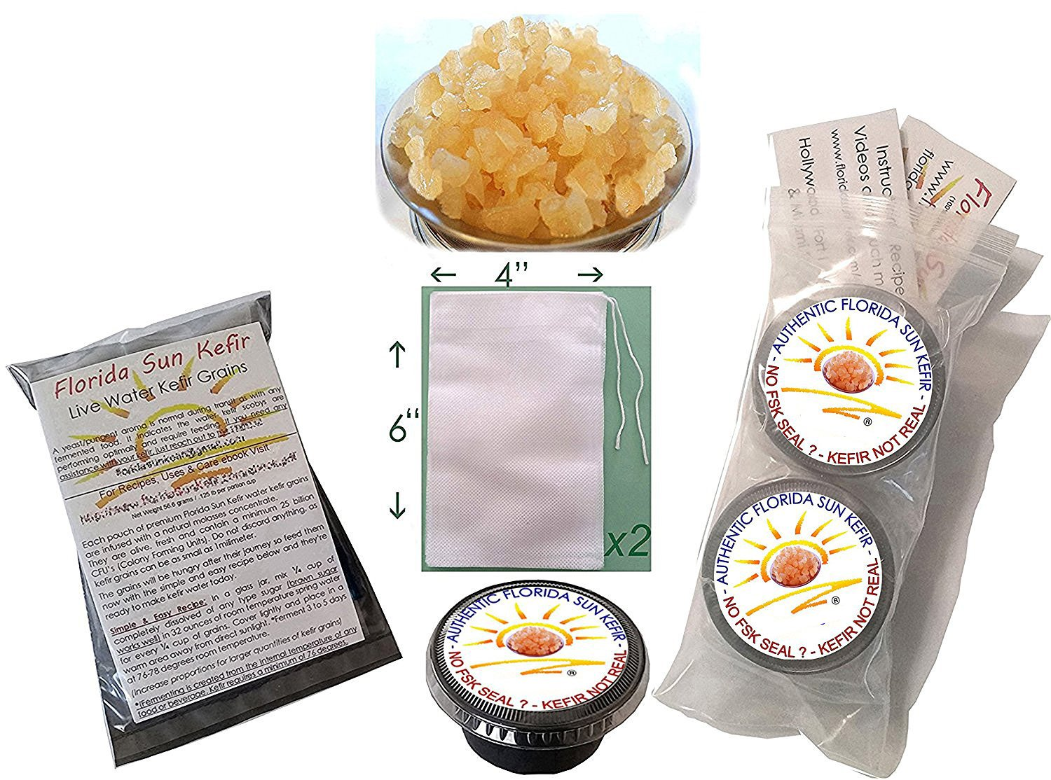 1/2 Cup Organic Original Water Kefir Grains Exclusively from Florida Sun Kefir with 2 Brewing Bags