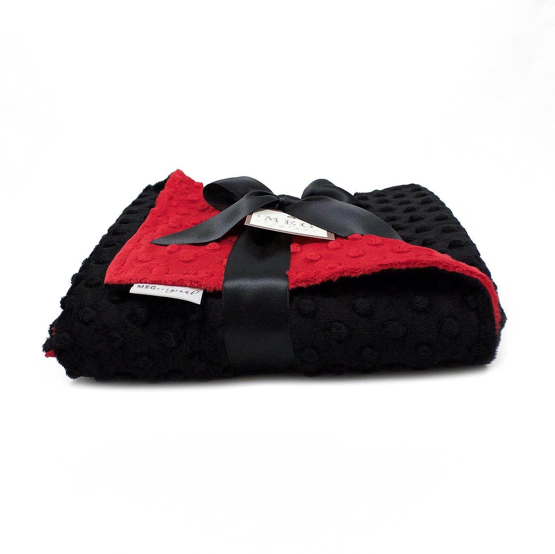 MEG Original Red /& Black Minky Dot Baby Blanket Unisex//Gender Neutral 1327