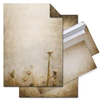 Set 12 Blatt Briefpapier Vintage Pusteblume Beidseitig Bedruckt 100g
