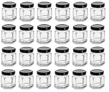 658621b99374 Nakpunar 24 pcs 1.5 oz Hexagon Glass Jars with Black Lids - 45 ml