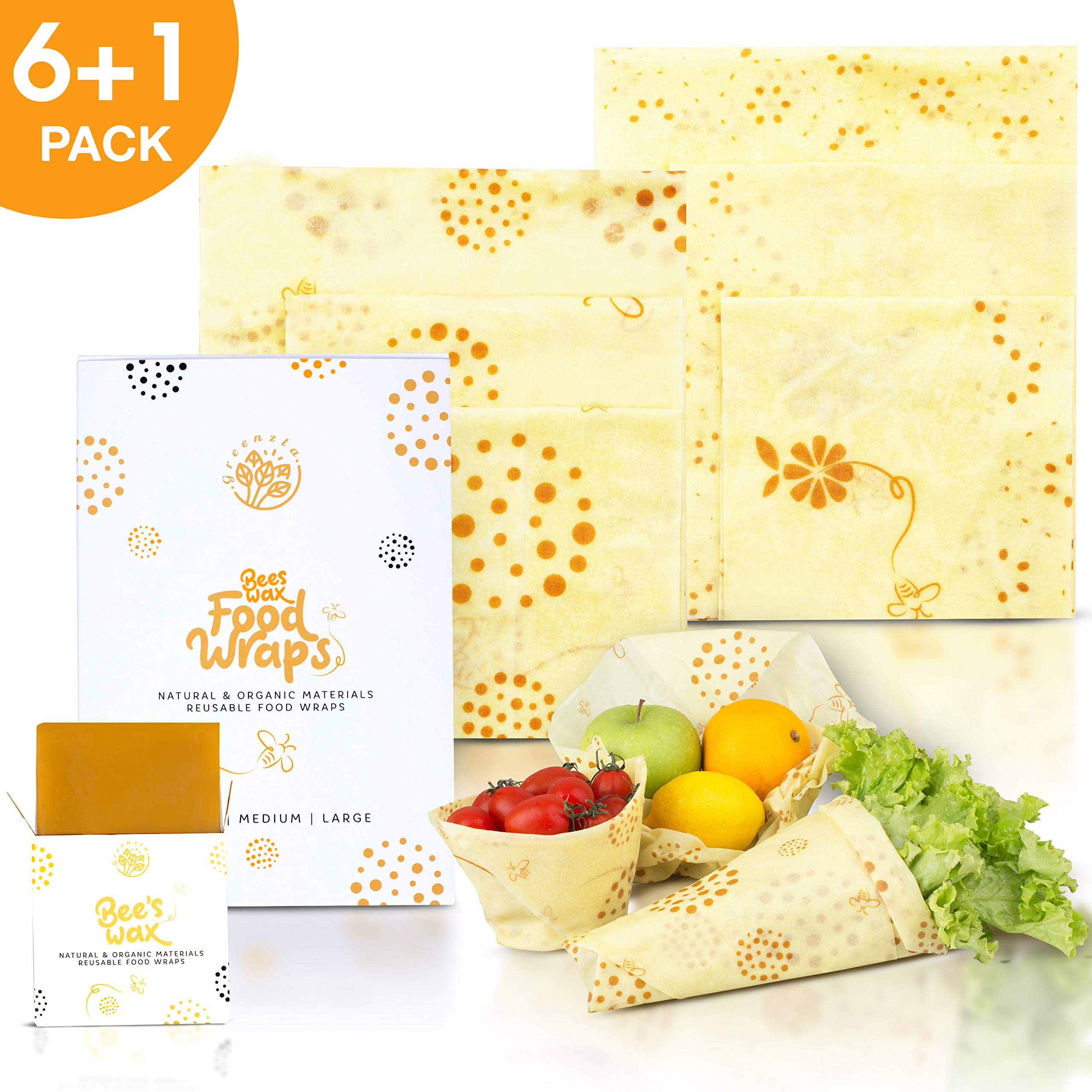 Greenzla Reusable Beeswax Food Wrap (Set Of 6 + Bonus Beeswax Bar) - Organic Cotton Wraps And Storage for Sandwich, Snack, Produce - Set of 2 Small, 2 Medium & 2 Large Eco Friendly Bee Wraps  Remove by Greenzla